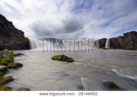 The Godafoss Waterfall in Iceland (the waterfall of the gods) is one of Iceland's most spectacular waterfalls. poster