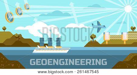 Geoengineering Concept Vector Illustration, Altering, Atmosphere, Biosphere