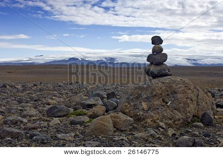 A Varda symbolising a safe onward journey, is often encountered in Icelandic interior. To some it's just a stack of rocks, to others the balance amongst the volcanic stones represents Zen