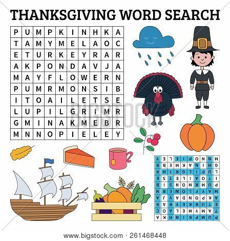 Thanksgiving Word Search Game For Kids. Vector Illustration For Learning English