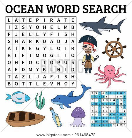 Ocean Word Search Game For Kids. Vector Illustration For Learning English