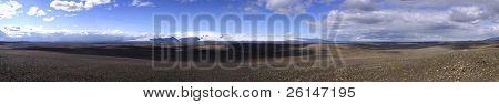 The vast volcanic landscape around the Langjokull glacier in Iceland