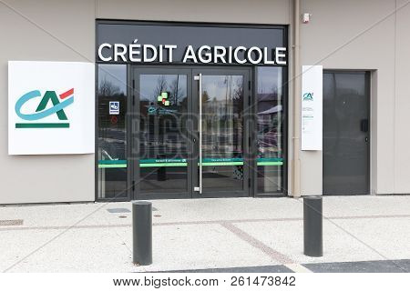 Orleans, France - March 19, 2017: Credit Agricole Agency. Credit Agricole Is A French Network Of Coo