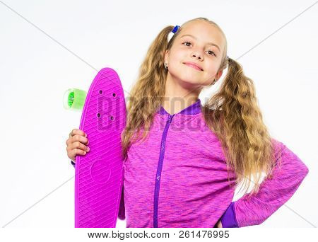 Child Hold Penny Board. Kid Long Hair Carry Penny Board. Plastic Skateboards For Everyday Skater. Pe