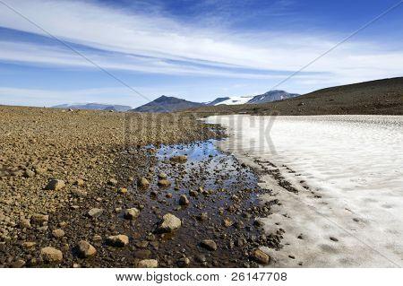 The barren, desolate Icelandic landscape with eternal snow and a rocky tundra desert near the Langjokull glacier