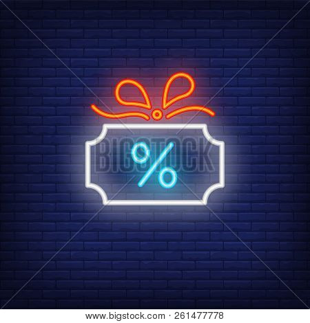 Cash Back Neon Sign. Glowing Neon Cash Sign With Percent Mark And Bow. Night Bright Advertisement. V