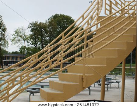 Architectural Elements Were Used Throughout The New Water Park This Stairway Winds From The Pool Dec