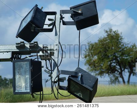Banks Of Portable Lights Stand Ready For Removal After A Successful Octoberfest Weekend. The Power S