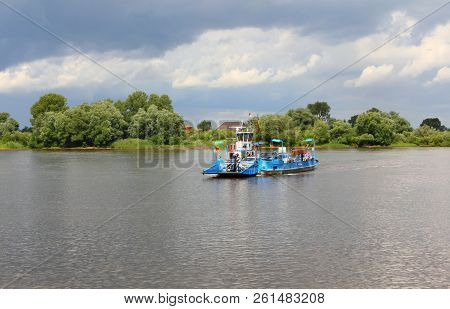 Bleckede, Niedersachse/germany - July 03, 2016: Ferry At Bleckede On The River Elbe. In This Section