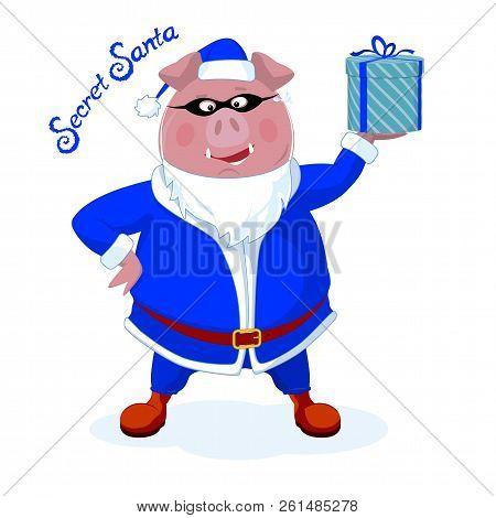 Funny Boar Dressed As Santa With A Gift. Secret Santa. Christmas Vector Illustration.