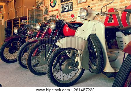 Montagnana, Italy August 27, 2018: Vintage Collection Of Retro Motorcycles.