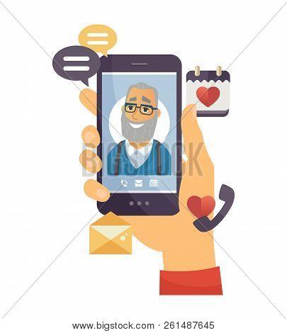 Grandfather Calling - Modern Vector Cartoon Character Illustration