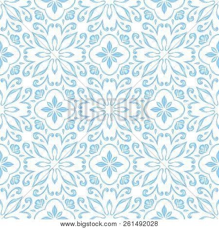 Portuguese Azulejo Ceramic Tile Pattern. Ethnic Folk Ornament. Mediterranean Traditional Ornament. I