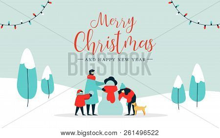 Merry Christmas Happy New Year Winter Illustration, Family With Kid And Dog Making Snowman On Snow L