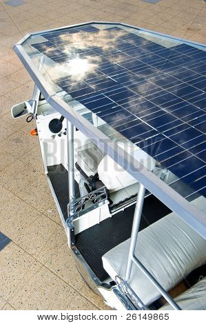 Solar panels on the roof of a modern tuc tuc