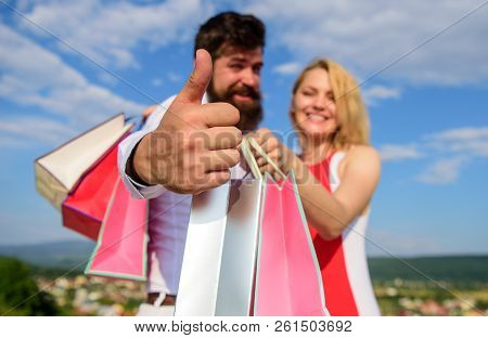 Highly Recommend Sale Tips. Man With Beard Shows Thumb Up Gesture. Couple In Love Recommend Shopping