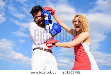 Attack Is Best Defence. Couple In Love Fighting. Defend Your Opinion In Confrontation. Man And Woman