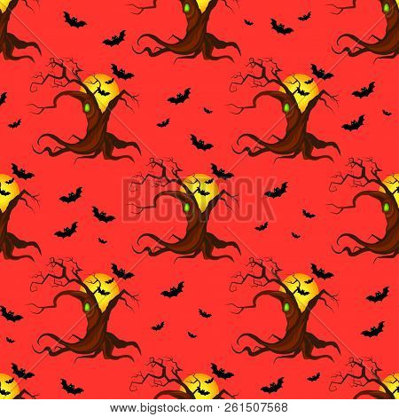 Abstract Seamless Halloween Tree Pattern For Girls Or Boys. Creative Vector Pattern With Tree, Hallo