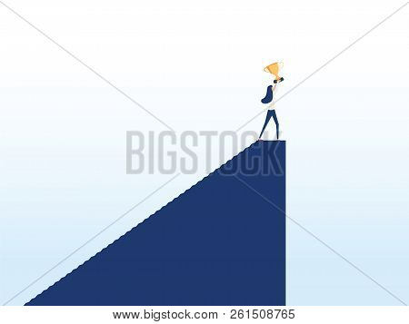 Business Woman Winner Vector Concept. Businesswoman Gold Cup Above Head On Top Of Mountain. Symbol O