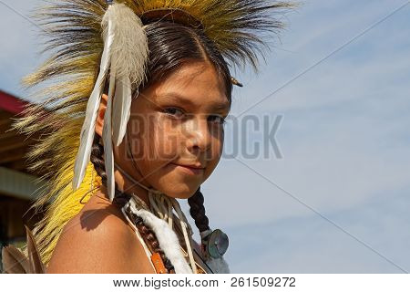 Bismark, North Dakota, September 8, 2018 : Portrait Of A Young Sioux At 49th Annual United Tribes Po