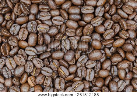 Brown Roasted Coffee Beans. Coffee Beans Background Or Coffee Beans Background. Closeup Shot Of Coff