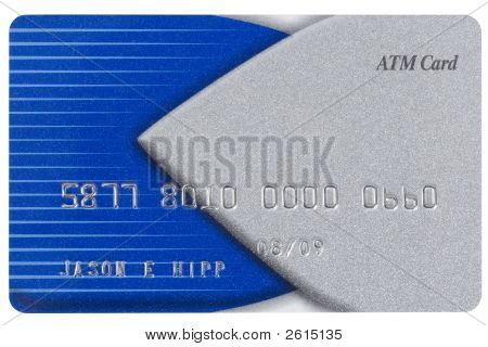 Blue And Silver Credit Card With Fake Numbers.