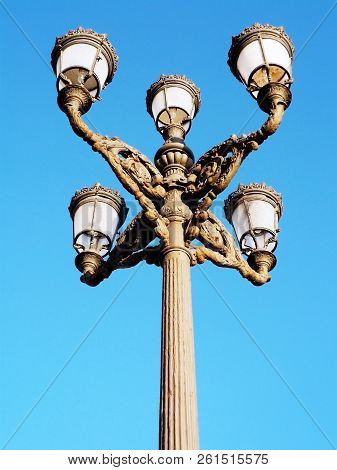 Lampposts In The Bay Of Cadiz Capital, Andalusia. Spain. Europe