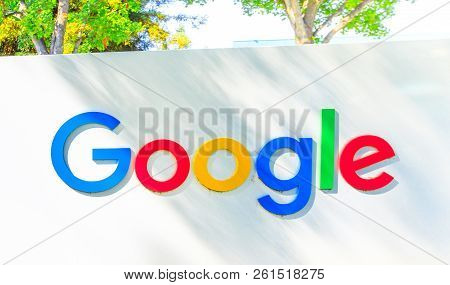 Mountain View, California, Usa - August 13, 2018: Google Logo Isolated From A Google Headquarters Si