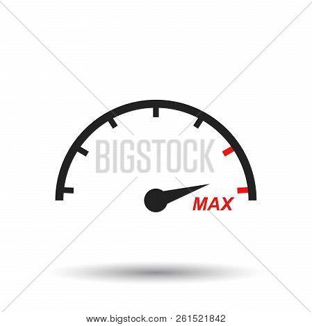 Max Speed Icon. Flat Vector Illustration. Speedometer, Tachomete