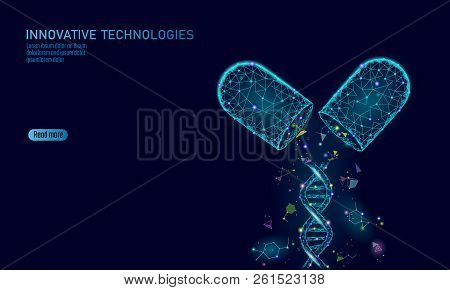 Opened Drug Capsule Medicine Business Concept. Dna Gene Therapy Blue Medicament Prebiotic Probiotic