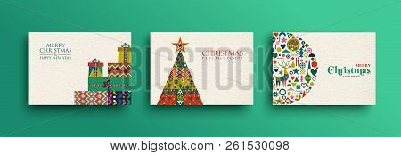Merry Christmas Holiday Folk Art Card Collection. Template Set Of Scandinavian Style Gift Box Pile,x