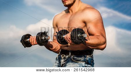 Dumbbell. Strong bodybuilder, perfect deltoid muscles, shoulders, biceps, triceps and chest. Muscles with dumbbell. Man training with dumbbells. Muscular bodybuilder guy, exercises with dumbbells poster