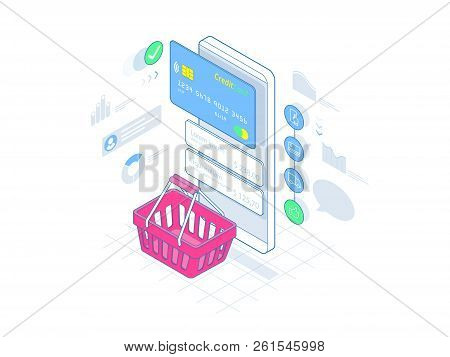 Isometric Smart Phone Online Shopping On Lines Concept. Ecommerce. Vector Illustration