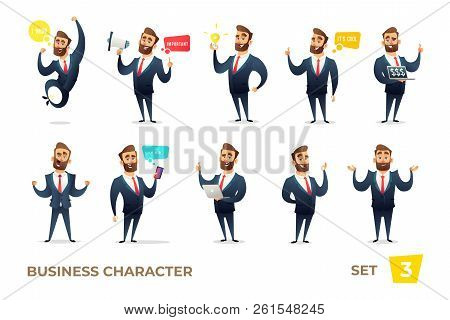 Businessman Collection. Bearded Charming Business Men In Different Situations. Modern Character Desi
