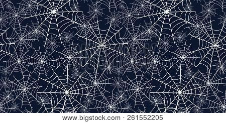 Halloween Spiderweb Black And White Repeat Pattern. Great For Spooky Holiday Wallpaper, Backgrounds,
