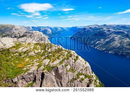 Lysefjord Aerial Panoramic View From The Top Of The Preikestolen Cliff Near Stavanger. Preikestolen