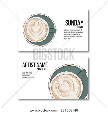 Hand Drawn Coffee Cup Business Card. Hot Drink Flyer, Personal Decoration. Irish Coffee Latte Cool D