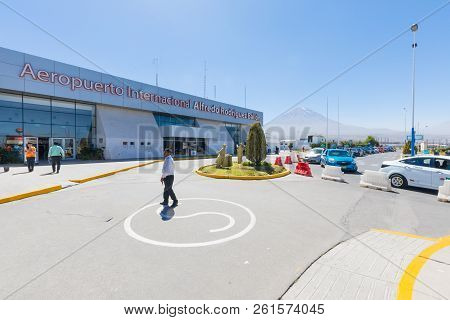 Arequipa Peru September 12 2018 Entrance Of International Airport Of Arequipa Connecting Peru To Man