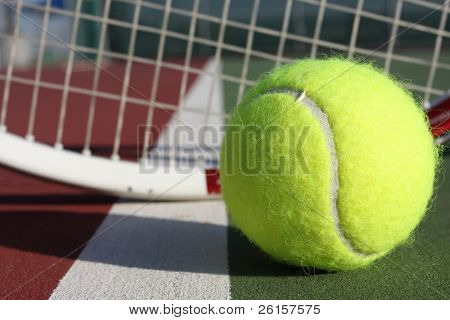 Tennis ball and racquet poster