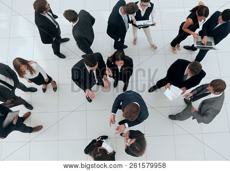 business concept.business partners talking in the lobby of the o