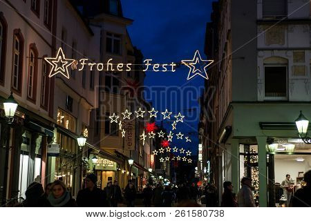 Koblenz Germany 16.12.2017 Street Decoration Lights During A Christmas Market Stating Merry Christma