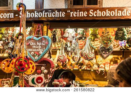 Koblenz Germany 16.12.2017 Christmas Market In The Old Town Of Koblenz Selling Traditional Sweets An