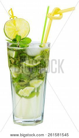 Non Alcohol Mojito With Ice, Mint And Lime In A Tall Glass. Side View Isolated On A White Background