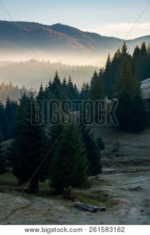 Mysterious Scenery In Mountains. Wonderful Autumn Weather With Fog In Distant Valley