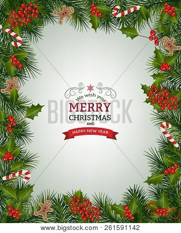 Christmas Background With Fir Branch Borders And Decorative Elements.christmas Border With Trees, Be