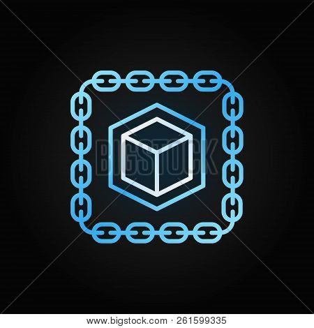 Chain With Cube Blue Line Icon. Blockchain Vector Outline Crypto Concept Symbol Or Logo Element On D