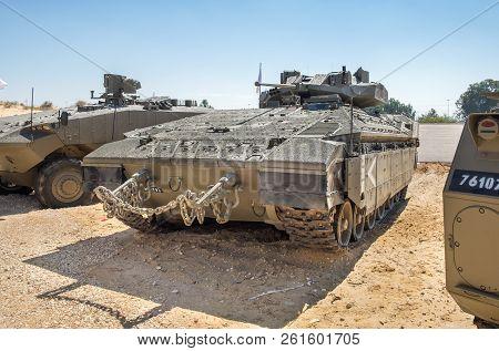 Holon, Israel - September 28, 2018: Namer Is An Israeli Armoured Personnel Carrier Based On A Merkav