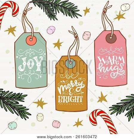 Set Of Hand Drawn Sketched Christmas Gift Tags With Hand Lettering. Holiday Phrases Drawn With Hands