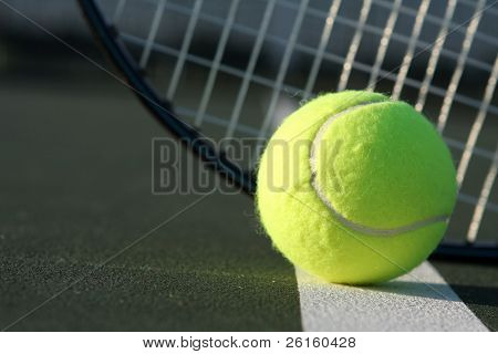 Tennis ball and the racket poster
