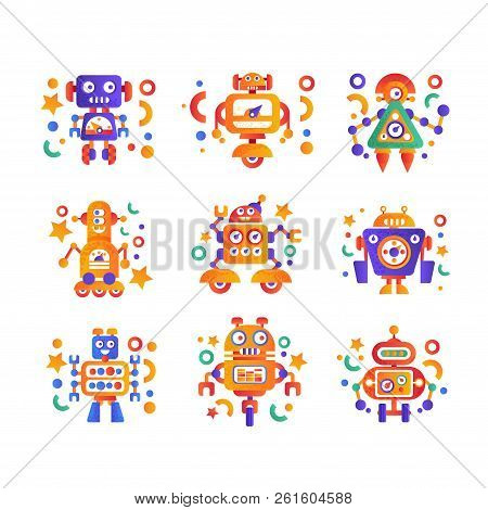 Cute Funny Robots Set, Android Characters, Artificial Robotics Machine Colorful Vector Illustration